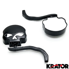 Pair Black Skull Skeleton side Mirrors for Universal Motorcycle Cruiser Chopper