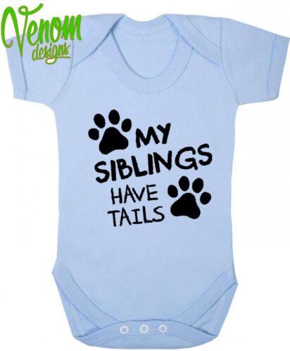 Chaleco De Cuerpo Suit Babygrow colas de Bebé Niño Niña Ropa Regalo Divertido Perro Gato Leds Divertido