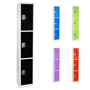 AdirOffice-Steel-3-Door-Compartment-Key-Lock-Office-Gym-Storage-School-Locker