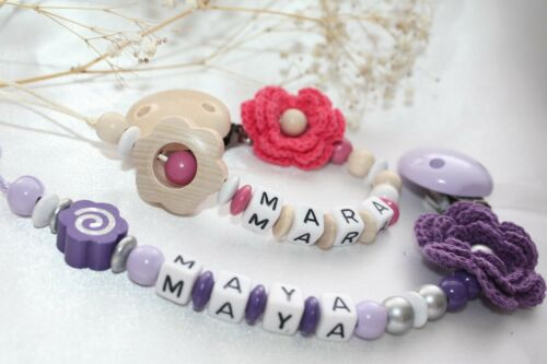 Crochet handmade Personalised dummy clip wooden dummy chain wooden pacifier cl