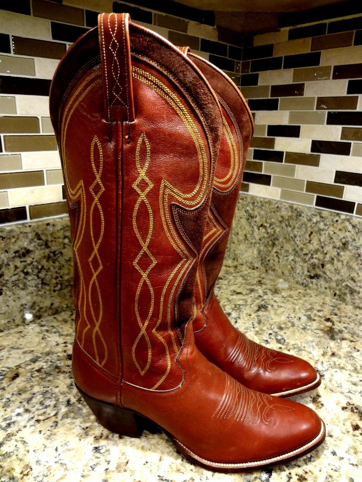 LOOK DAN POST BOOTS WOMEN SIZE 5 C WIDE WESTERN COWGIRL BROWN SPAIN LEATHER