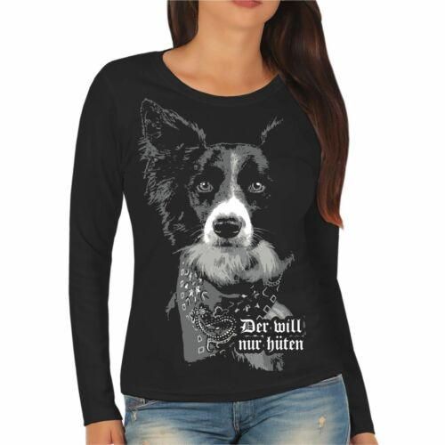 Femmes Chemise manches longues Border Colley hütehund Race sort CHIENS CLUB proverbes
