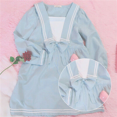 Japanese Mori Girl Vintage Sweet Lolita Cute Bowknot Long Sleeve Princess Dress