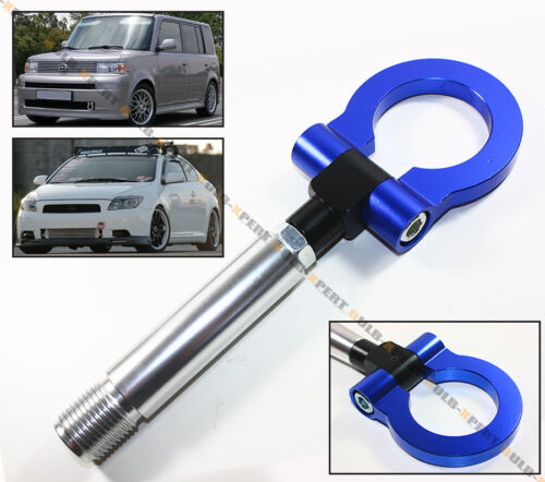 BLUE JDM BILLET FOLDING RING SCREW ON BUMPER TOW HOOK FOR SCION XB tC XA XD IQ
