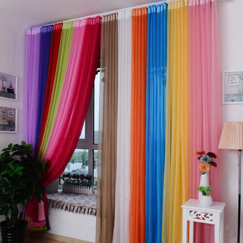 Valances Solid Tulle Voile Home Door Window Curtain Sheer Curtains Drape Panel