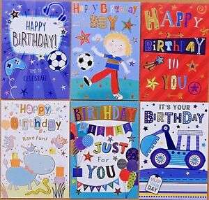 Terrific Pack Of 6 Boys Kids Childrens Birthday Cards Male Childs Birthday Funny Birthday Cards Online Alyptdamsfinfo