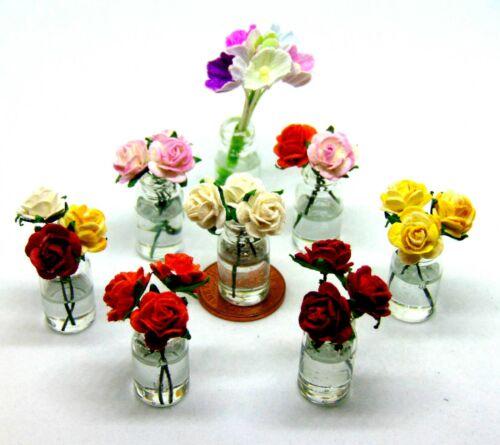 1:12 Maßstab Handgefertigt Papier Blumen IN Glasvase Tumdee Puppenhaus Rosen ML