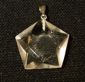 PENDENTIF Pentagramme En Quartz CRISTAL DE ROCHE