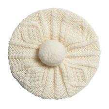 Little Girl's Carraig Donn Handknit Beret-Style Hat, White Merino Wool, One Size