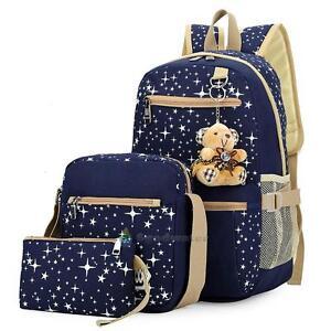 Image is loading 3PCs-Womens-Travel-Canvas-Rucksack-Backpack-Tote-Girls- 3829b3492b