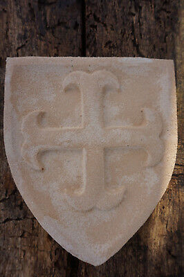 HF1388 D BLASON CROIX CATHARE MEDIEVAL ARMOIRIE PIERRE RECONSTITUEE MURAL  30/%