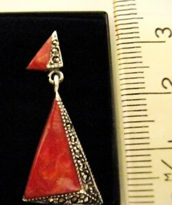 Sterling Silver Red Jasper Marcasite Triangle Pendant 1920s Deco Vintage style