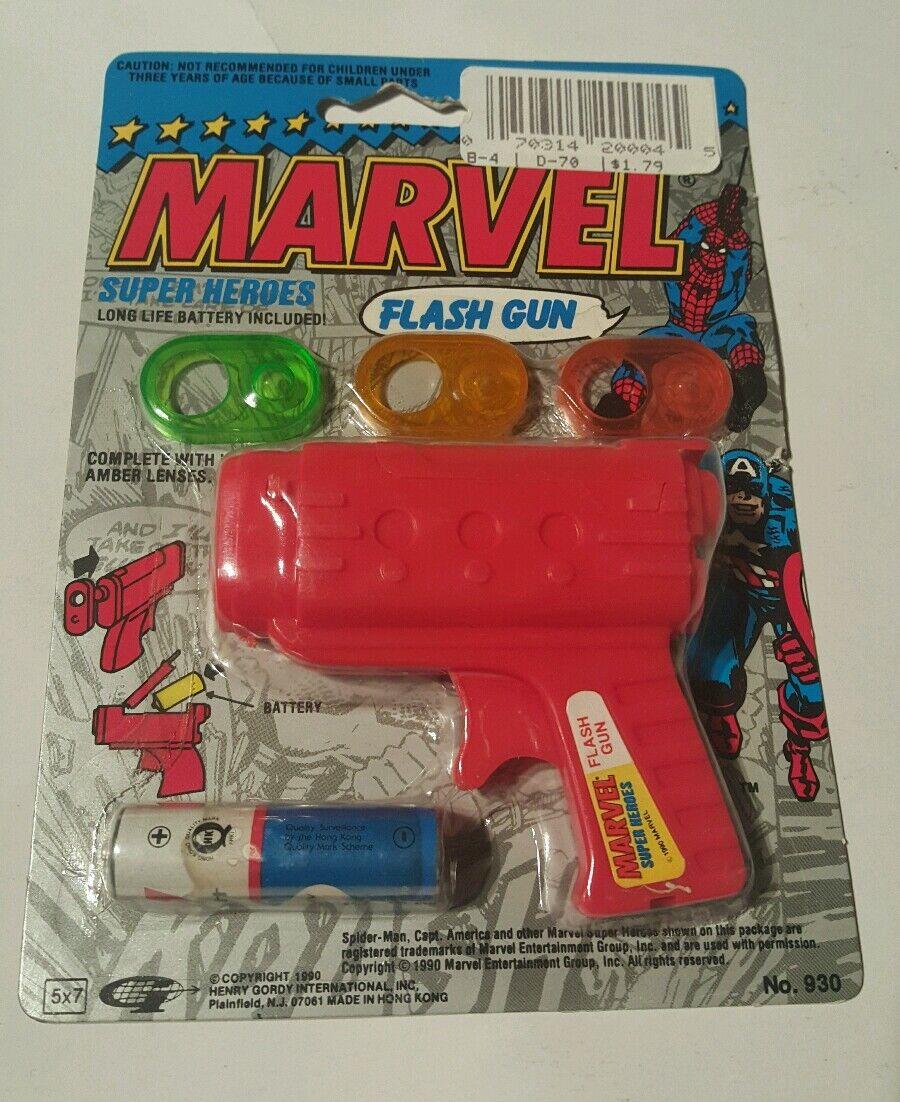Marvel sh flash gun 1990 gordy international , spiderman & captain america