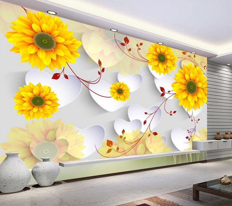3D Flowers Heart Shape Pattern 32 Wall Paper Wall Print Decal Wall AJ Wall Paper