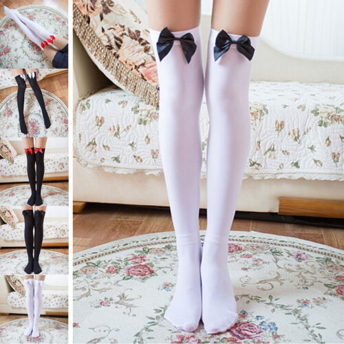 Girl Stretchy Meias Over The Knee High Socks Stockings Tights With Bows Thigh XS