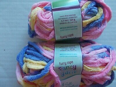 1.75 oz ea lot of 2 Velvet Needle Crafters Furry Rope Fancy ruffle yarn