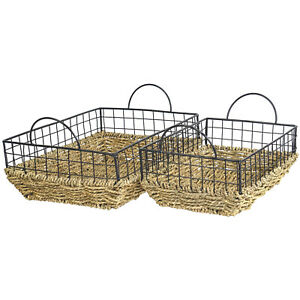 Set of 2 Rectangular Seagrass Basket with Handles, Storage Container Organizers