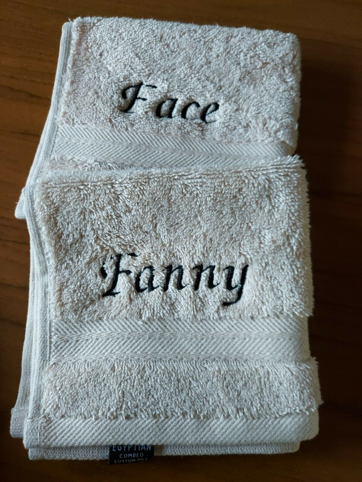 Face & Fanny Embroidered Face Cloths Set Colour Sand & Black Egyptian Cotton