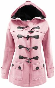 16-26-Ladies-New-Baby-Pink-Fleece-Duffle-Style-Hooded-Coat-Long-Jacket-Womens