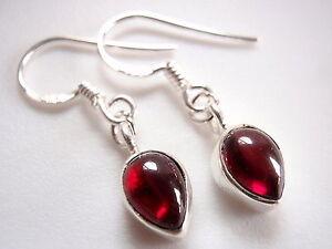 Image Is Loading Very Small Red Garnet Teardrop Dangle Earrings 925