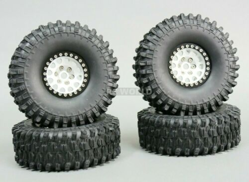 1//10 Scale Metal TRUCK WHEELS Black Rings TIRES 1.9 Beadlock Rims V2 Silver