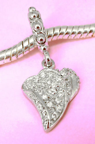 Solid Sterling Silver Beautiful Charm Pendant Bead W 24 Cz Fits Bracelet / Chain