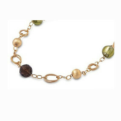 """BEAUTIFUL DESIGNER PERIDOT & AMETHYST GOLD PLATED Solid Silver Necklace 20"""""""