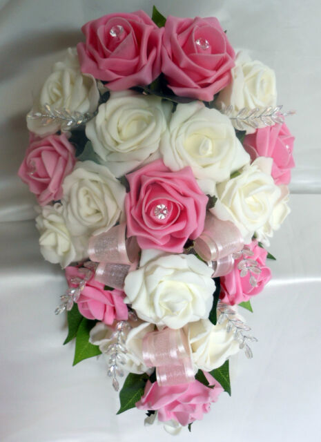 Wedding Flowers Ivory & pink roses with diamante  Listing for spe6503_qlcxqil8k