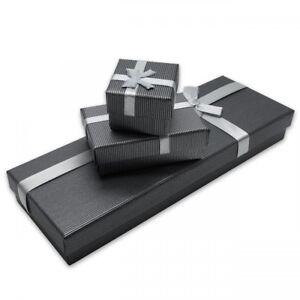 Geschenk-Boxen-mit-Schleife-grau-Schmuck-Aufbewahrung-Hochzeit-Karton-edel