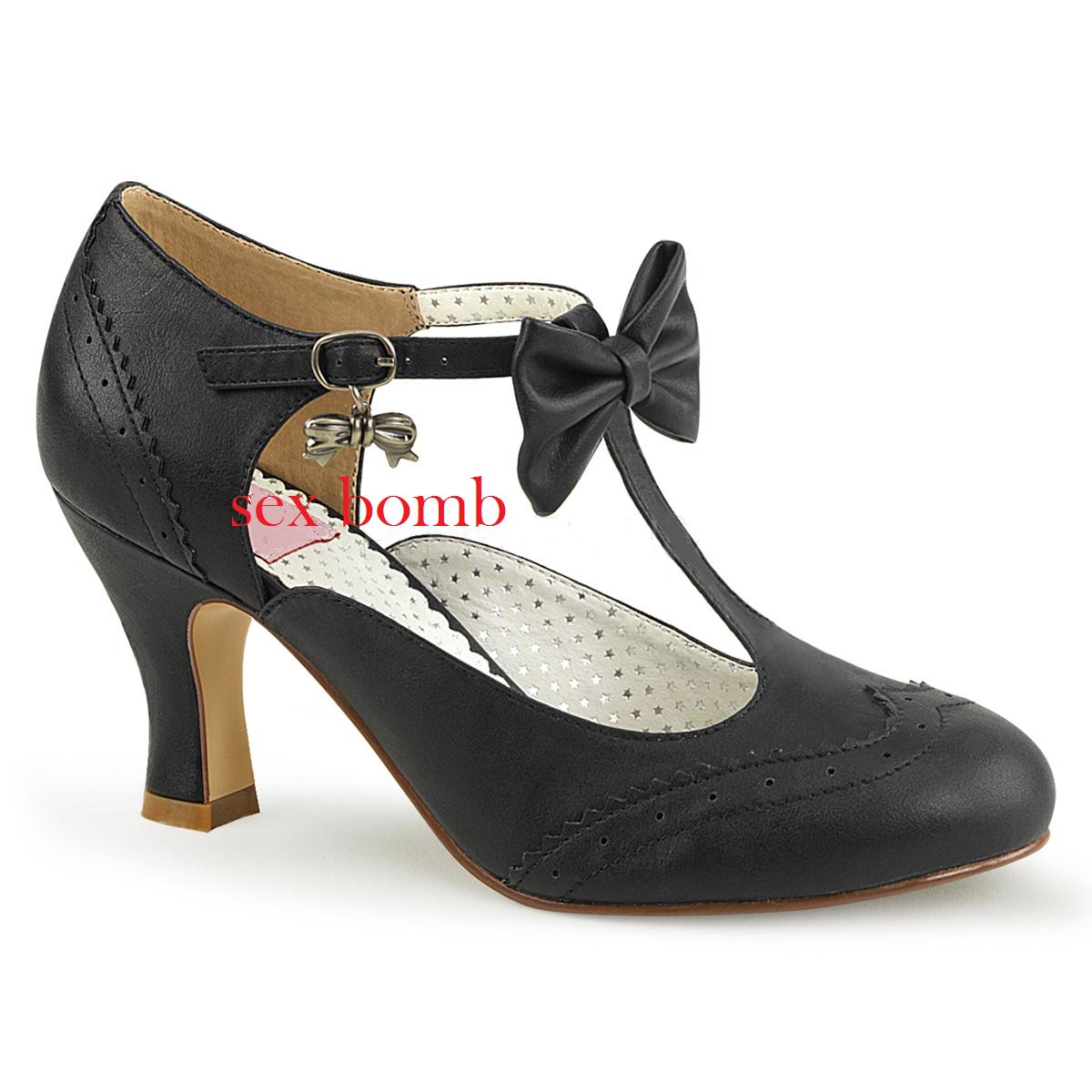 Sexy shoes PIN UP tacco 7,5 dal 36 al 42 black OPACO cinturino decolté GLAMOUR