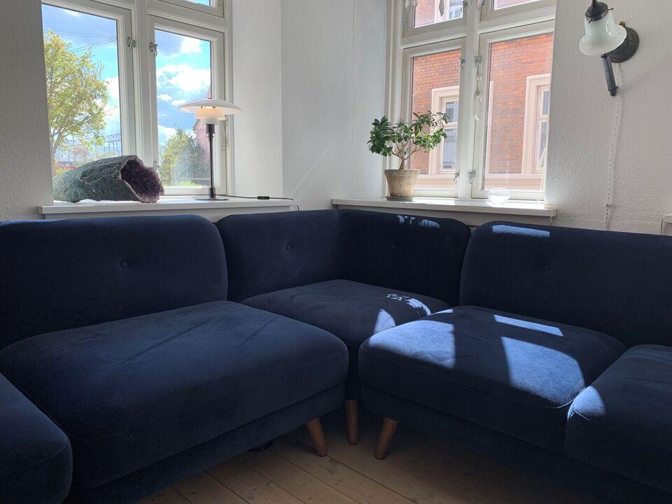 Blå velour hjørnesofa Sofacompany