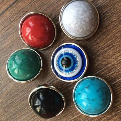 6pcs Retro Mix 18mm Snaps Chunk Charm Button FIT For NOOSA Leather Bracelets DIY