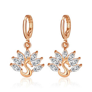 Peacock-Style-Natural-White-Fire-Topaz-Gems-Yellow-Gold-Plated-Dangle-Earrings