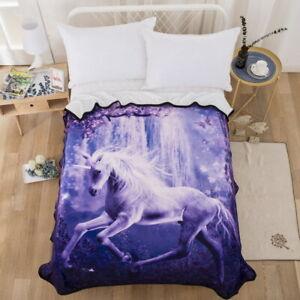 3D-Purple-Unicorn-Velvet-Plush-Throw-Blanket-Sherpa-Bedding-Thin-Quilt-60-80in