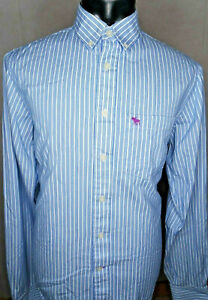 ABERCROMBIE-amp-FITCH-homme-bleu-a-rayures-manches-longues-chemise-taille-XL