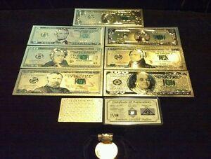 LUCKY-11Pc-LOT-SILVER-Shot-COIN-1-2-5-10-20-50-100-Banknote-Reps-W-COA-FLAKE