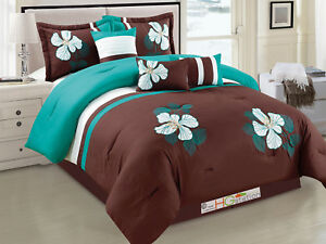 7 Applique Embroidery Floral Blossom Pleated Comforter Set Brown ...