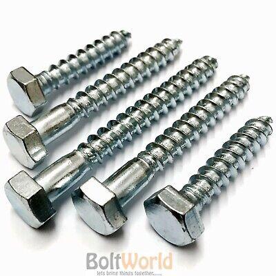 SCREWS 10.0 x 150mm BRIGHT ZINC PLATED BZP COACH BOLTS HEX HEXAGONAL HEAD *