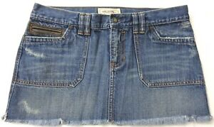 c785f83f7 Details about Abercrombie & Fitch Jean Mini Skirt Leather Pocket Distressed  Womens Size 8