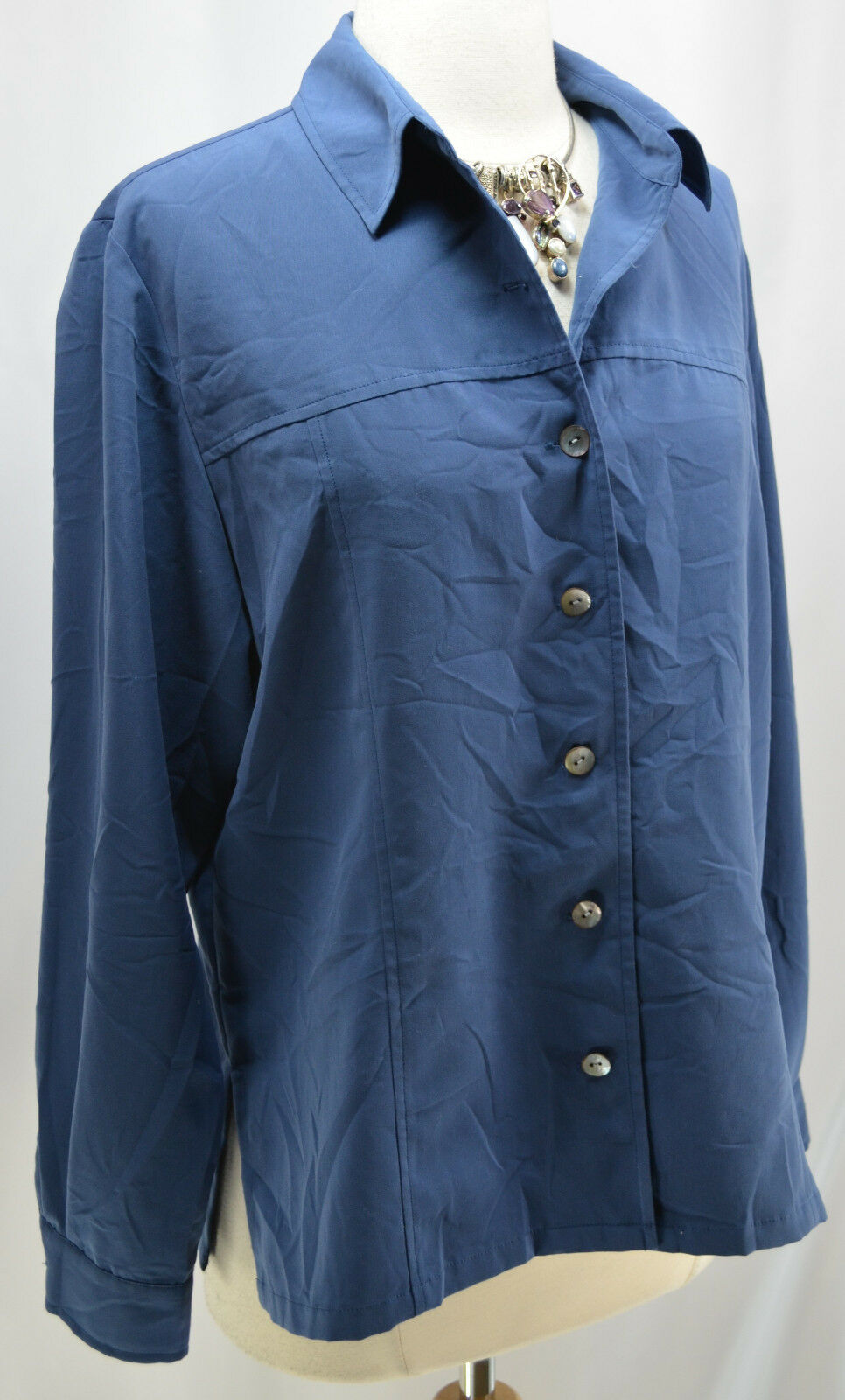 Coldwater Creek shirt button down blouse steel bluee top modal Size M long sleeve