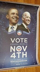 Barack Obama 2008 Original Iowa Only Poster Vote Nov 4th Joe Biden Rare!