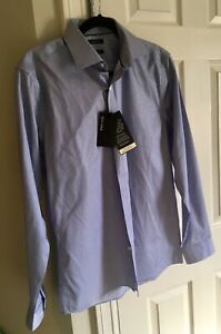 RW-amp-CO-Men-039-s-Blue-Fitted-Long-Sleeve-Dress-Shirt-Size-M-15-15-1-2-NWT