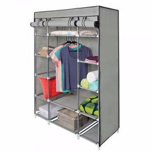 "53"" Portable Closet Wardrobe Clothes Rack Storage Organizer W/ Shelf Shelves"