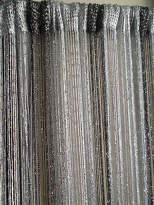 Silver Thread Black Mix String Tassel Curtain Room Divider Panel 1mx2m Elegant