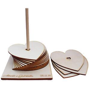 Libro Degli Ospiti Guestbook Matrimonio Legno Cuori Heart Amore Coppia Love