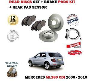 FOR MERCEDES ML280 CDi 2006-2010 REAR BRAKE DISCS SET + PADS KIT + WIRE SENSOR