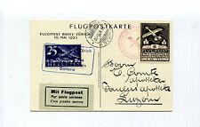 Switzerland 1925 Air Mail Souvenir Postcard & Vignette Basel-Zurich Muller 151