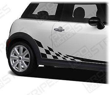 Mini Cooper Checkered Side Stripes Porsche Style Decals 2008 2009 2010 2011