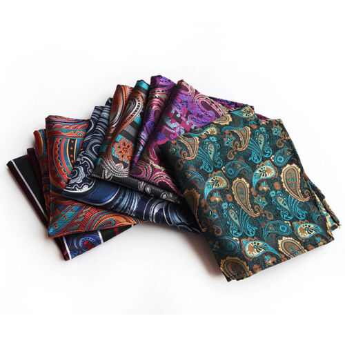 "Lot 10 Packs Men/'s Hanky 10/"" Pocket Square Floral Striped Silk Handkerchief Gift"