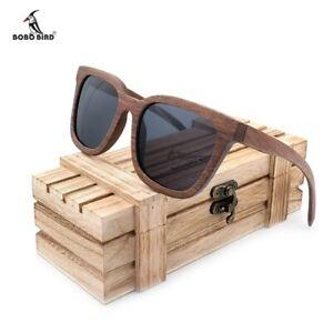 e2fe26f525 Image is loading BOBO-BIRD-Luxury-Black-Walnut-Wooden-Sunglasses-Unisex-